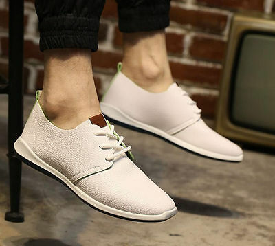 Men's leather casual fashion sneakers lace up casual shoes white
