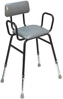 Aidapt Black Perching Stool With Plain Arms And Padded Back