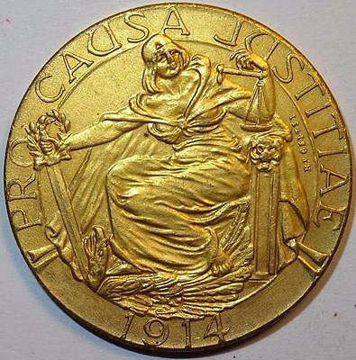 ALLIES PATRIOTIC MEDALLION seven ALLIED LEADERS depicted 1914 gilt bronze 35mm