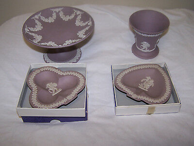 4 piece lot  WEDGWOOD LILAC Jasperware candy dish cup 2 dish made in England