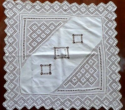 "Antique Handmade Open Lace,Tatting Work, Embroidery,Scalloped Edges. 32"" Square."