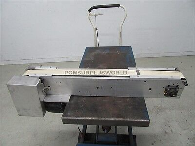 """Flat Belt Conveyor 2.75"""" X 42"""" With Motor 1/8Hp 115V ( Used and Tested )"""