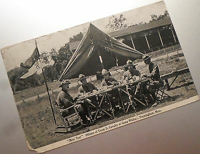 """1916 Postcard, Officers Of Troop """"D"""" At Camp Whitney, Framingham, Ma."""