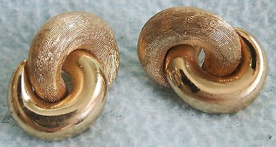 Vintage 1960s Genuine CHRISTIAN DIOR Goldtone Textured Knot EARRINGS