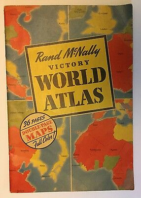 WWII Rand McNally Victory World Atlas 1943 36 Full Color Map Pages