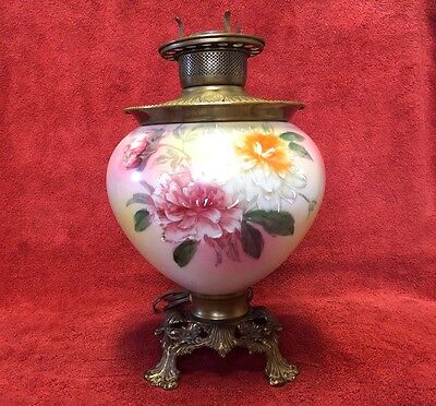 Antique Victorian Handpainted FLOWERS Gone With The Wind Electric Lamp - NICE!!