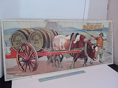 VINTAGE CARDBOARD BOSWELL BEER ALES AND PORTER  30x13inc. OLD QUEBEC