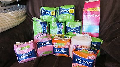 15 paks assorted mainly Always Ultra Sanitary towels, 3 pkts oppenned