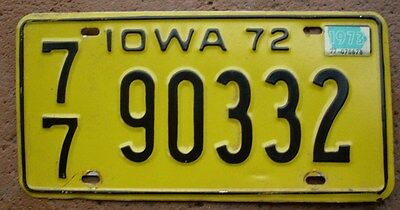 Licence Plate from Iowa all embossed tag number 77  90332 expired in 1973