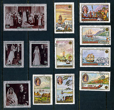 COOK ISLANDS 1968 CAPTAIN COOK's VOYAGE & 1972 SILVER WEDDING FINE USED SETS
