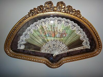 Antique French Chinese Courtship Fan Hand Painted Figural Signed V. Ballester