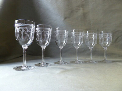 6 antique Edwardian etched sherry glasses, Pall Mall type glass, VGC