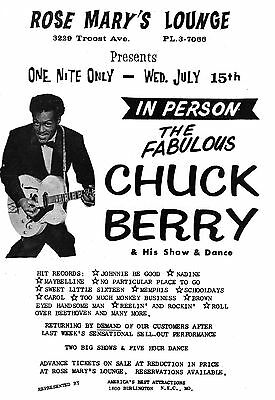Chuck Berry Original 1964 Handbill For Small Club Show In Kansas City