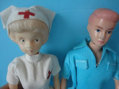 2 vintage plastic clone dolls - nurse and possibly doctor