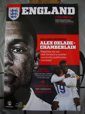 2014 European Qualifier Wembley England V San Marino Football Programme