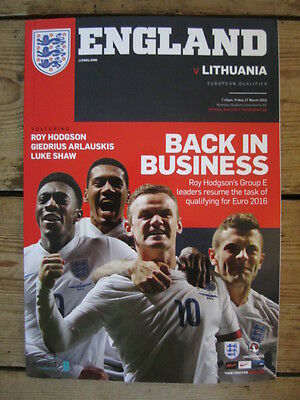 2015 European Qualifier Wembley England V Lithuania Football Programme Unused