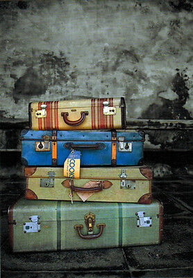 FOUR OLD SUITCASES...  MEMORIES OF MANY TRIPS TAKEN...  Modern Russian card