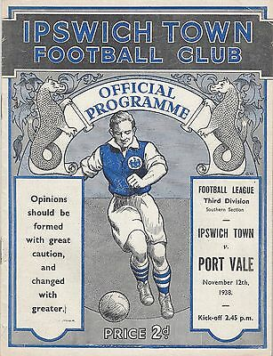 IPSWICH TOWN v PORT VALE - 1938/9 - IPSWICH 1st season in League
