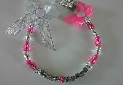 personalised bow dummy clip for girls / any name/ colour /with or without mam cl