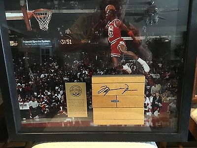 Michael Jordan Signed Floor Piece with Picture Upper Deck! Rare! UDA