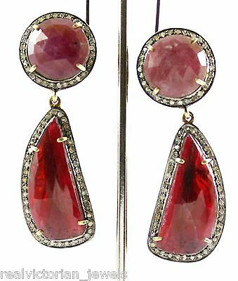 Enchanting 39 Crt Natural Maroon Sapphire Slice & Rose Cut Diamond Earring