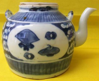 Chinese 19thC Qing Dynasty Porcelain Teapot