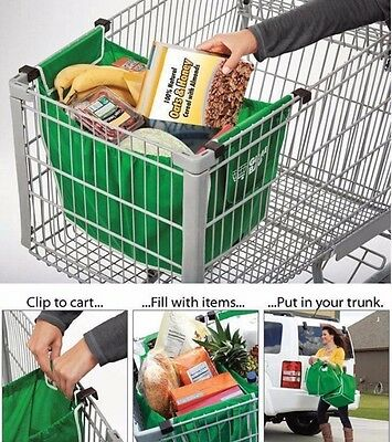 New Clip-to- Trolley 2 Easy Pack Shopping Trolley Organiser Section Bags
