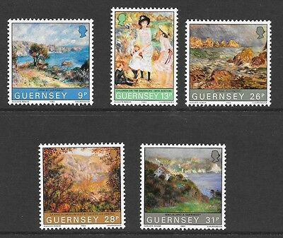 Guernsey 1983 Centenary Of Renoir's Visit To Guernsey Stamp Set Mh