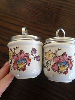 Vintage egg cup/warmers x 2. With lids. Wedgewood.