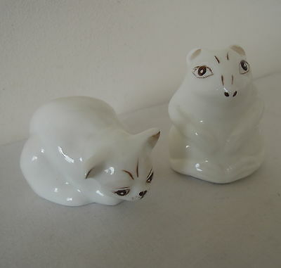 X2 Coalport Animal Ornament Mouse and Cat