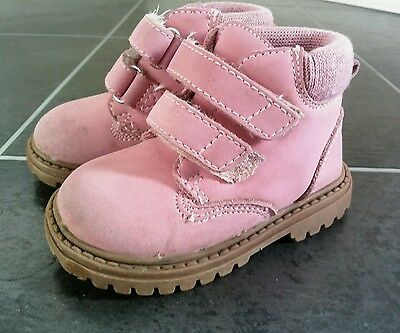 Mothercare Baby girls hard sole velcro fastening high top boots UK 3 / EUR 19