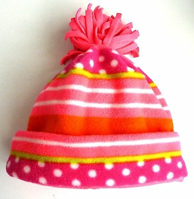 Kids GAP Girls  NEON ORANGE PINK GREEN Dotty Fleece Pom Pom Beanie Hat S/M 6-9 y