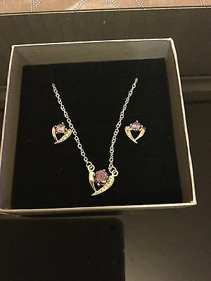 Ladies 925 Silver Necklace And Earrings Set