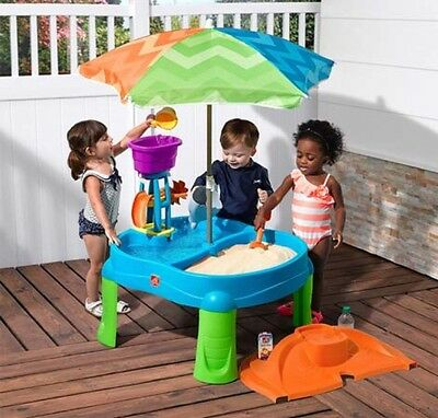Sand and Water Table Step 2 Beachside Splash Kids Sand Pit Outdoor Toys Fun