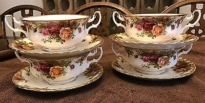 1962 Royal Albert Old Country Roses Cream Soup 2 Handle Bowls W/saucer Plates