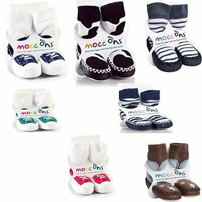 Boys Mocc ons/ Slippers 6-12M/ 12-18M/ 18-24M/2-3- Various Designs Available!