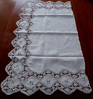 Antique Lace Handmade Hemstitched Scalloped Runner/Vict Pillow Cvr. Ecru.35 x20""