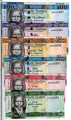 South Sudan Full Set 1,5,10,25,50 & 100 Pounds Uncirculated