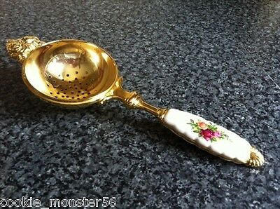 Royal  Albert ( Doulton )  Gold  Tone  Old  Country  Roses Tea  Strainer  RARE