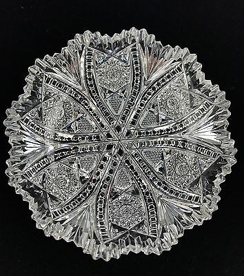 """Spectacular ABP CUT GLASS Crystal American Brilliant Round Low Dish - 6"""" Dia"""