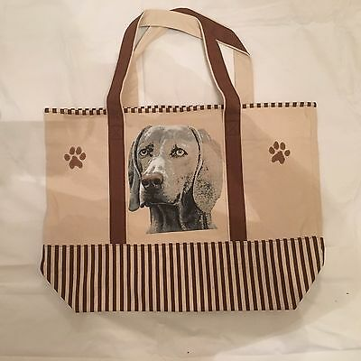 Heavyweight Canvas Shopping Bag Tote With Weimaraner Dog Design