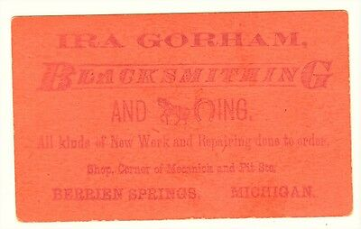 RARE Advertising Trade Card - Rebus  BLACKSMITH Berrien Springs MI 1880 Michigan