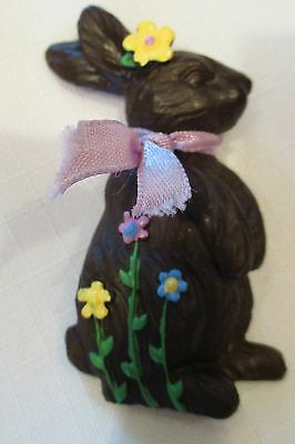 Faux Chocolate Easter Bunny Rabbit Brooch Brown Resin