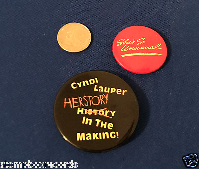 (2)vintage 1983 Cyndi Lauper She's So Unusual PROMO button pin badge Cindy
