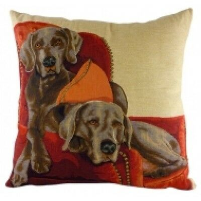 Weimaraners on Chair Tapestry Dog Cushion By Evans Lichfield