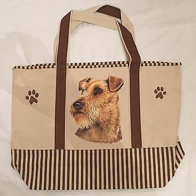 Heavyweight Canvas Bag/Tote with Welsh Terrier/Airdale Dog Design