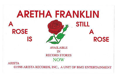 ARETHA FRANKLIN - 1998 A ROSE IS STILL A ROSE Promo Window Decal / Sticker