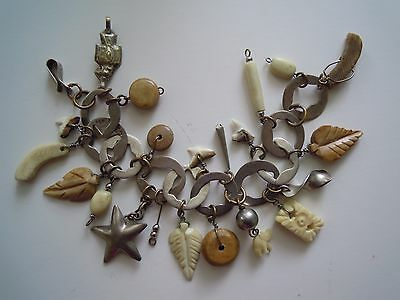 Antique Sterling Silver Bracelet Mexico Hammered Links, Bone & Tooth Charms