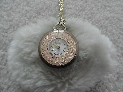 Pretty Swiss Made Impex Wind Up Necklace Pendant Watch