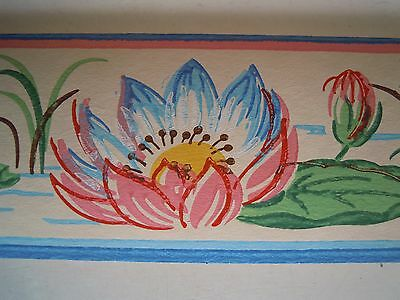 """48 Feet of Vintage 1940s DURO Lotus/Waterlily 3"""" Pre-Pasted Wallpaper Border"""